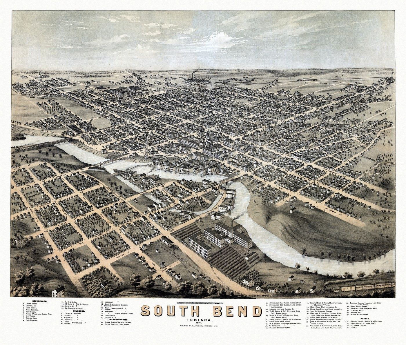 Antique Map of South Bend Indiana Poster