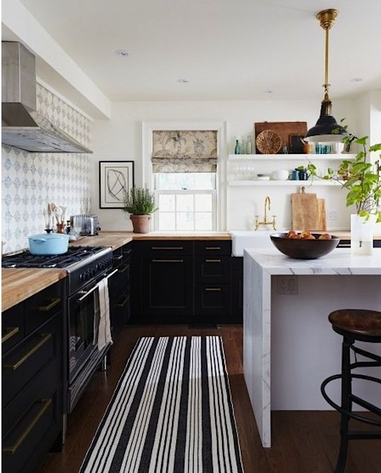 Sisal Runner White Kitchen With Carrara Marble Brass: Marble Island Is A Must Along With Butcher Block Countertops From IKEA