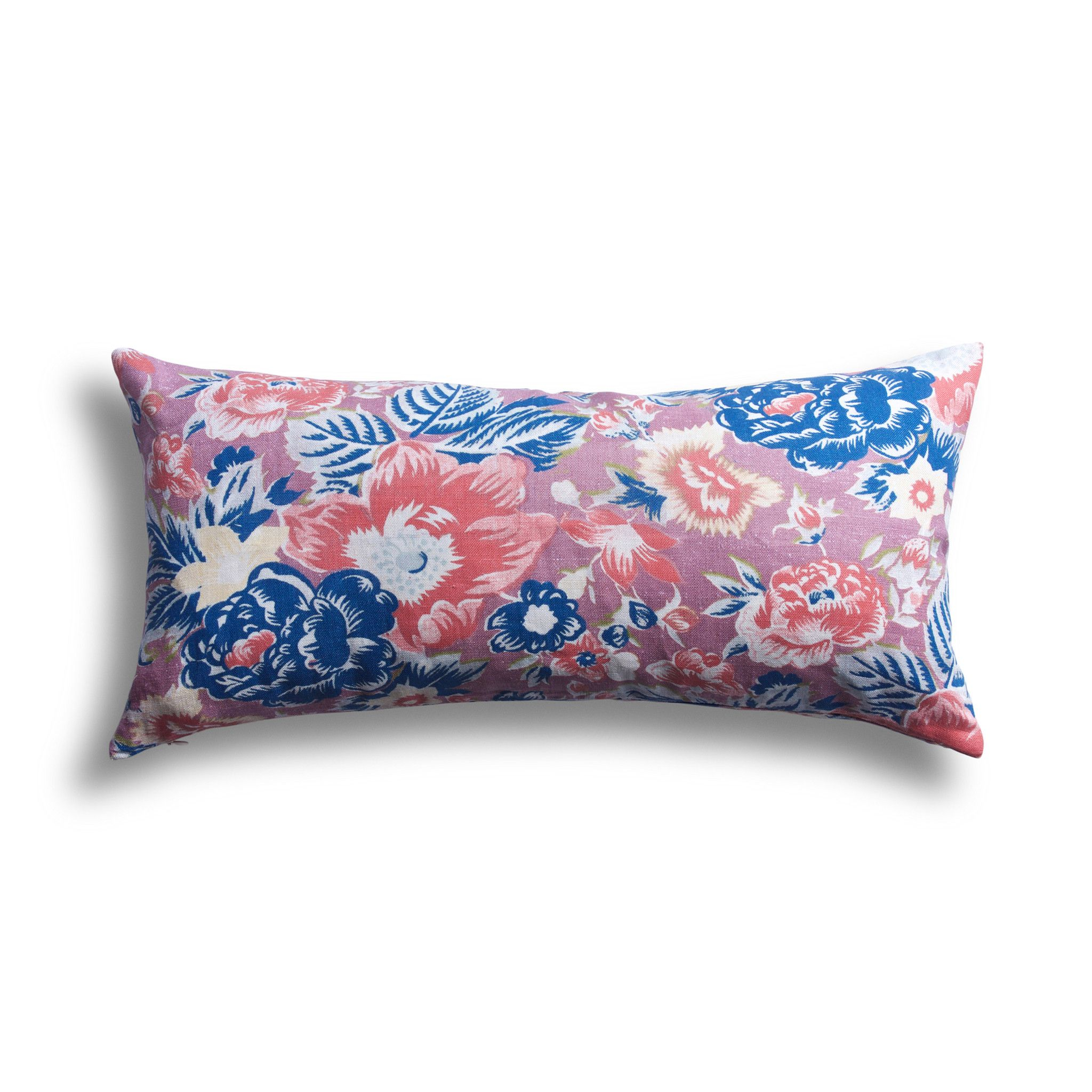 Coral Summar Palace Pillow 12 X 24 In Screen Printed Pillow Pillows Belgian Linen