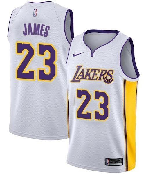 Men 23 Lebron James Jersey White Los Angeles Lakers Swingman ...