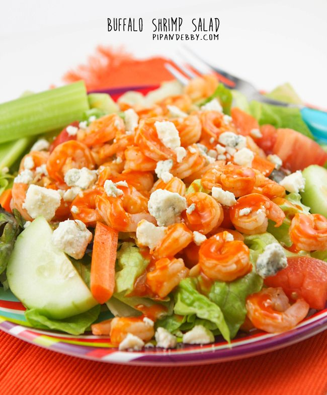 Buffalo Shrimp Salad #buffaloshrimp