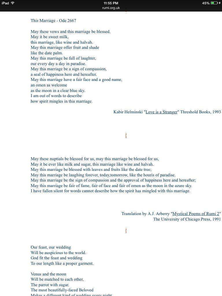 Rumi Marriage Poem Wedding Poems Persian Wedding Marriage Poems