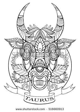 Taurus Zodiac Sign Coloring Book For Adults Vector Illustration Anti Stress Adult Tattoo Stencil Zentangle Style Black And White Lines
