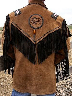 Indian Fringe Leather Jackets Men Back Of Black Fringed