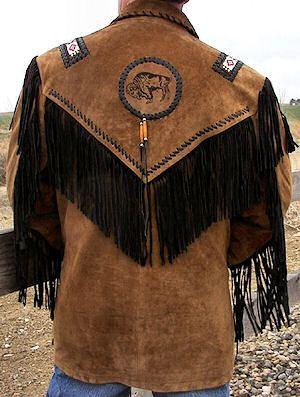 Indian Fringe Leather Jackets Men Back Of Black Fringed