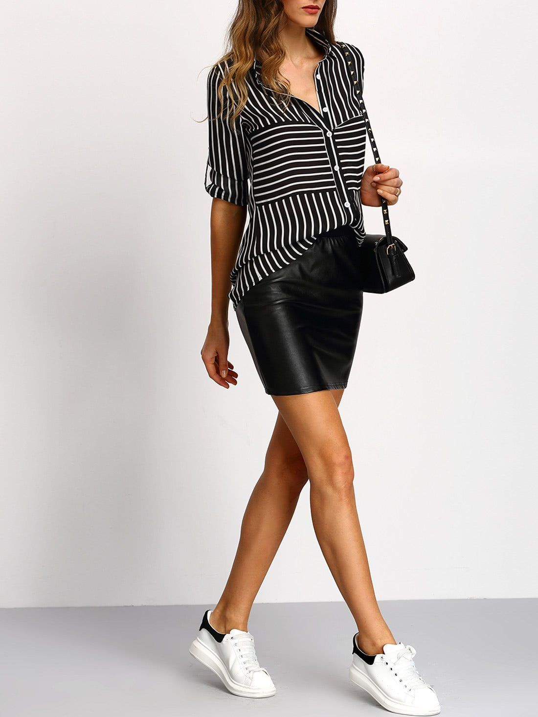 d379d02da375 Material  Polyester Color  Black Pattern Type  Striped Collar  Lapel Style   Casual