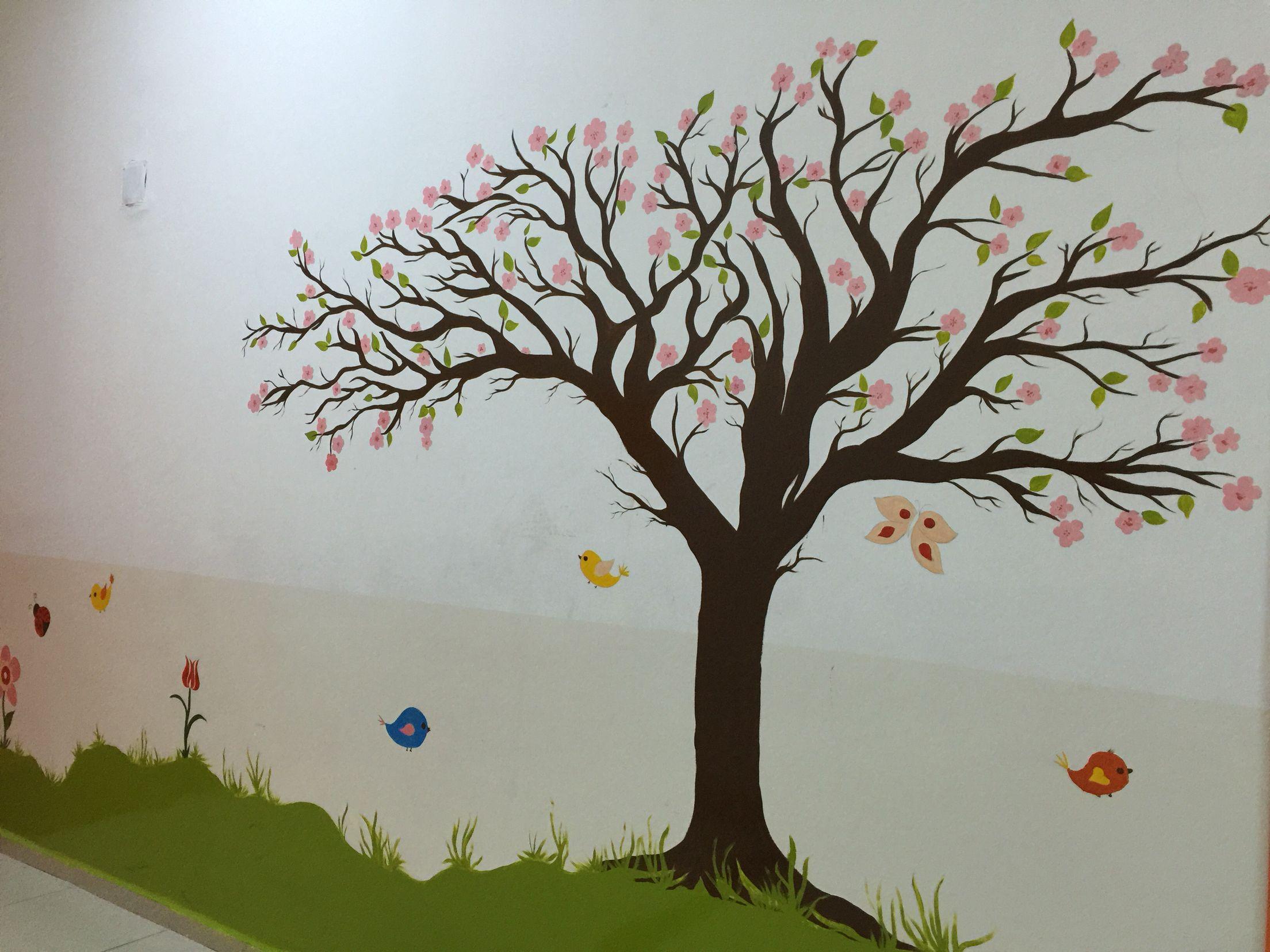 Duvar Resmi Agac Yagliboya Mural Painting Sanat Cicekler