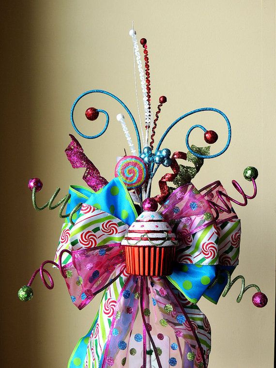 Whimsical Christmas Tree Topper Christmas Tree Topper Bow Cupcake