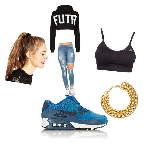 Babe by lilcarmelmami on Polyvore featuring polyvore fashion style Topshop adidas NIKE A.V. Max ASOS clothing