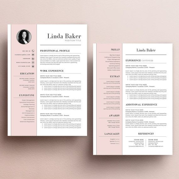 Resume Template with Photo CV Template + Cover Letter + Reference - example of a cover letter for a resume