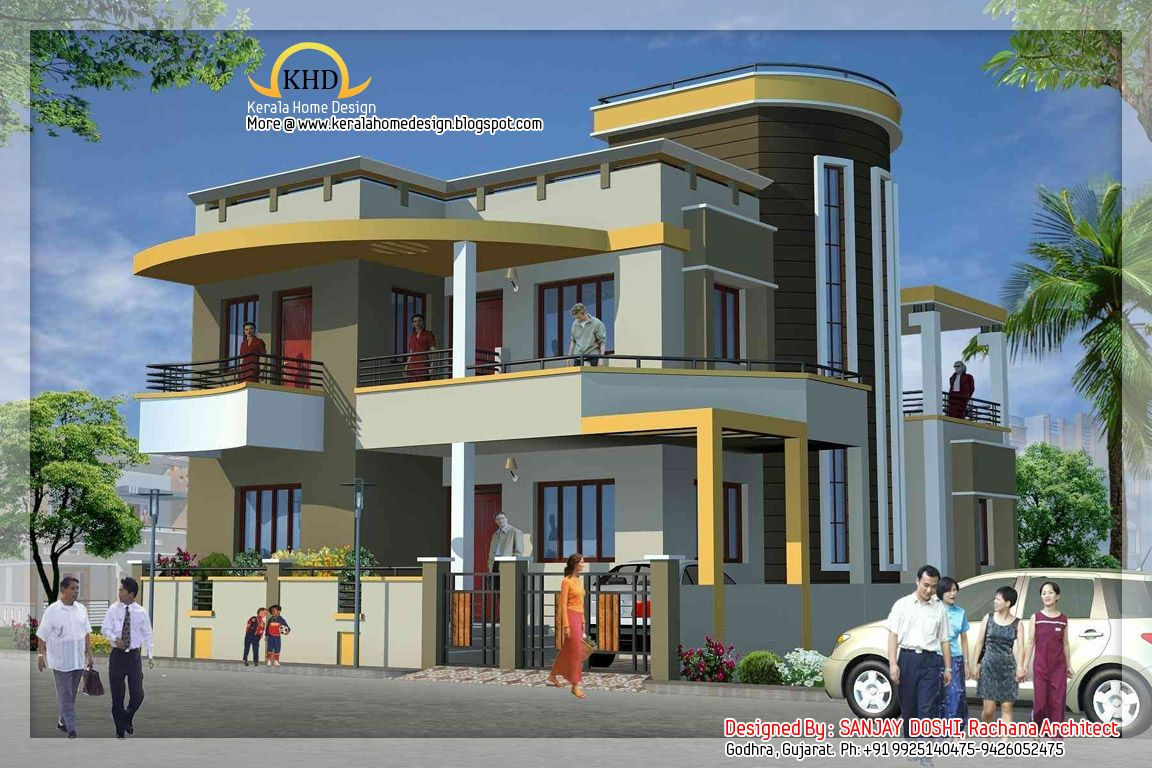 Duplex house design duplex house elevation projects to for Home plan elevation