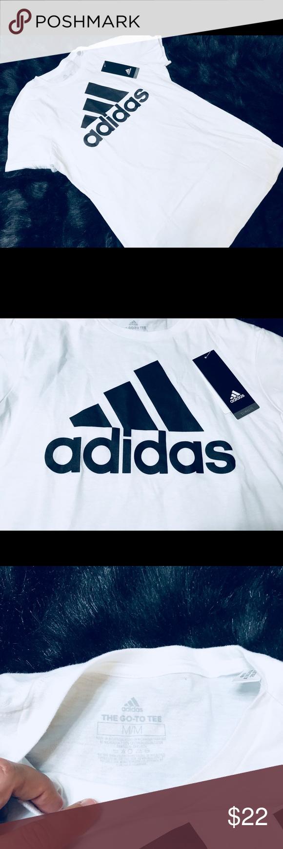♥️{Adidas} Women's White & Black Logo Tee♥️ Adidas women