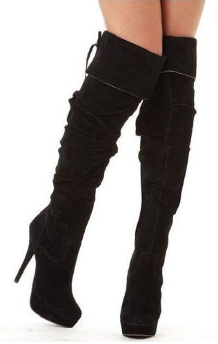 Details about Serina Gray Suede Knee-High Boots Stiletto Heels sz ...