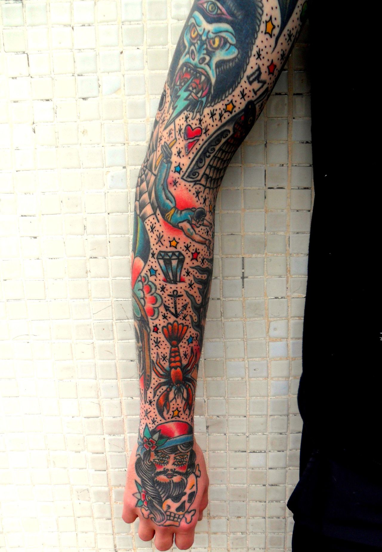 traditional tattoo sleeve. tie it all together later with