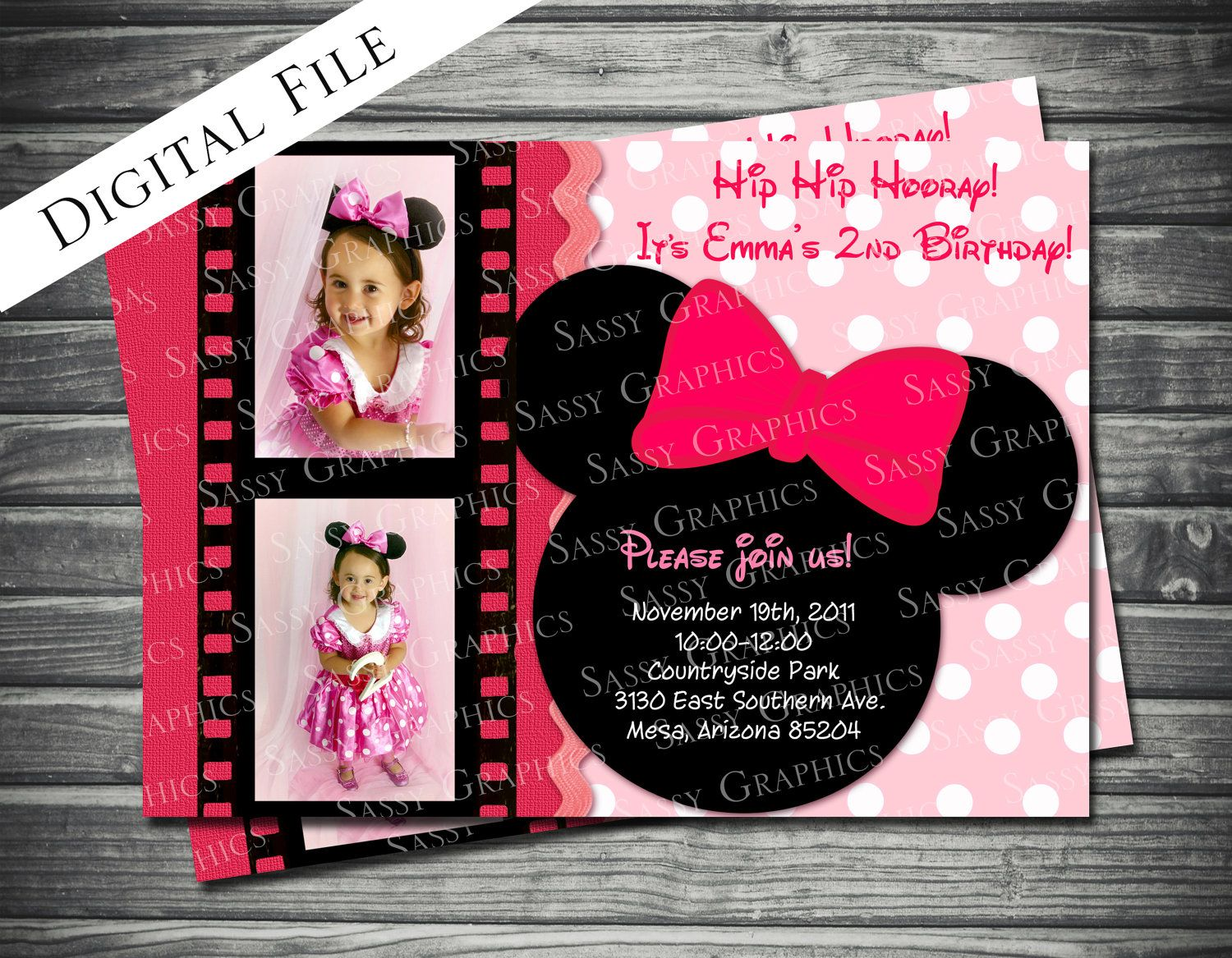 Minnie Mouse Invitation Template  Minnie Mouse Birthday