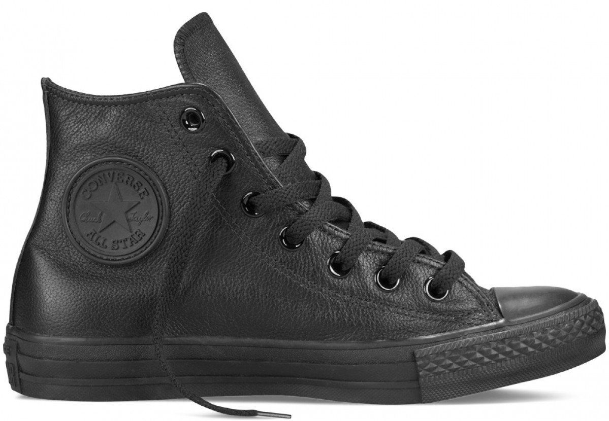 72f8af0a61dd Converse Chuck Taylor All Star Hi Top Leather Black Monochrome ...
