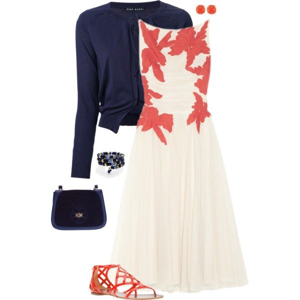 """Tory Navy & Coral"" by kswirsding on Polyvore"