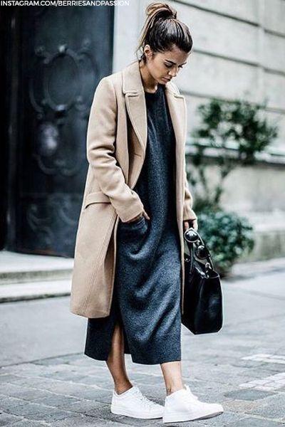 Look , Street , Robe , Longue , Basket , Veste , Longue , Minimal ,