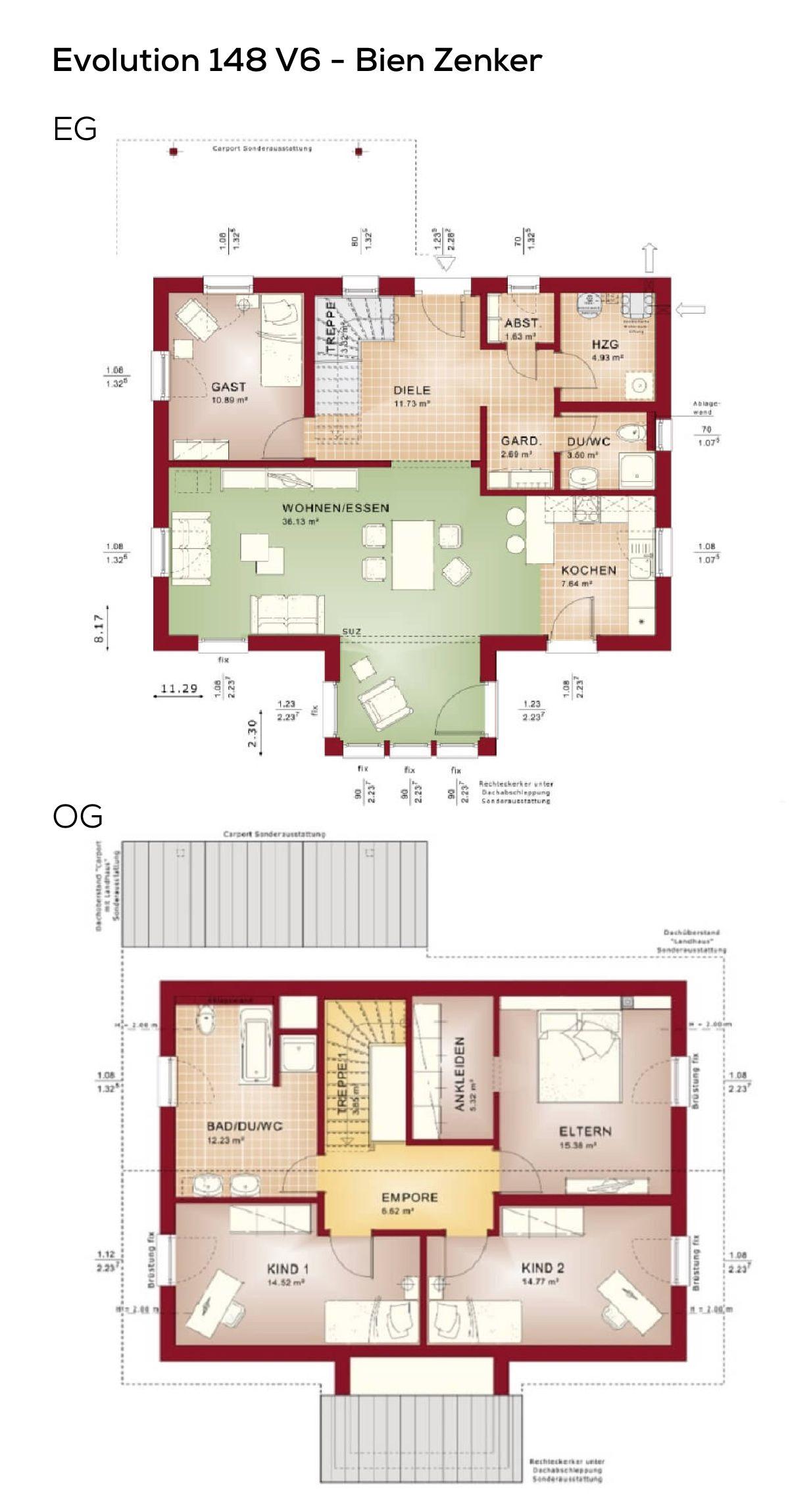Grundriss Einfamilienhaus mit Satteldach Architektur - 5 ...