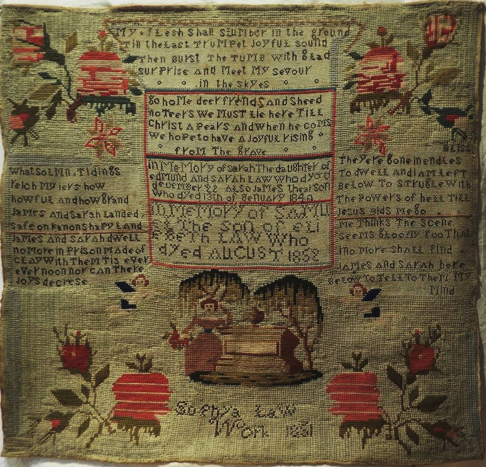EARLY 19TH CENTURY MEMORIAL SAMPLER BY SOPHYA LAW 1851
