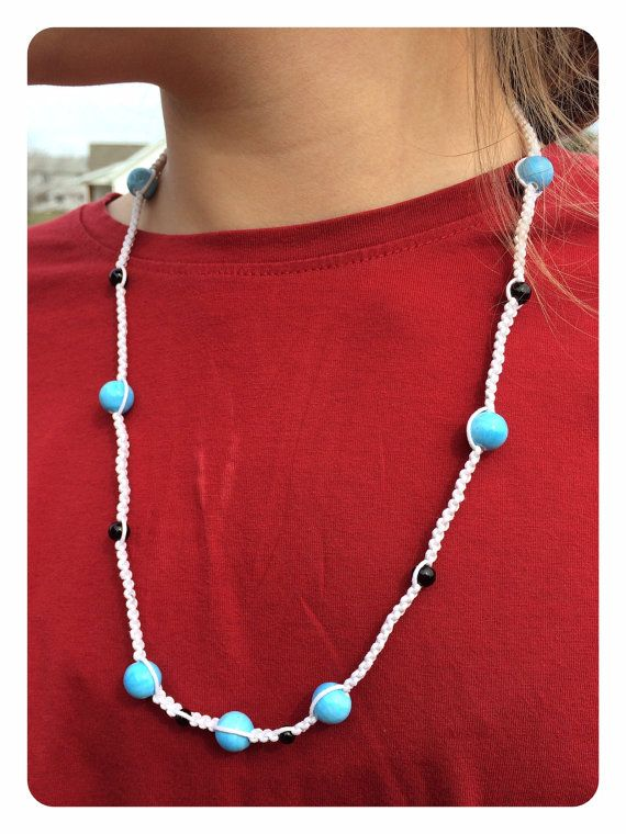 Knotted Necklace Bracelet Set-Blue and Black Beaded White