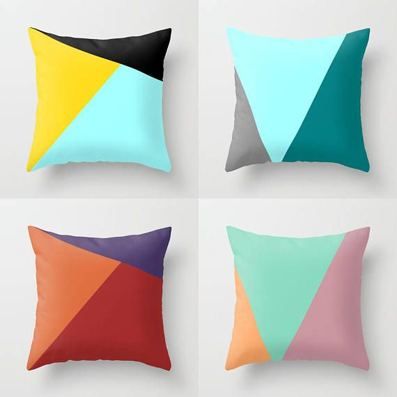 Outdoor Pillow Inserts Nordic Color Block Throw Pillow Indoor Outdoor Cushion Cover