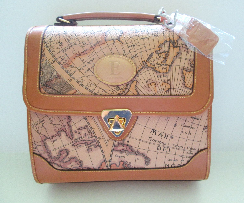New vintage leather handbag world map pattern crossbody purse new vintage leather handbag world map pattern crossbody purse messenger handle by mrsdinkerson on etsy gumiabroncs Images