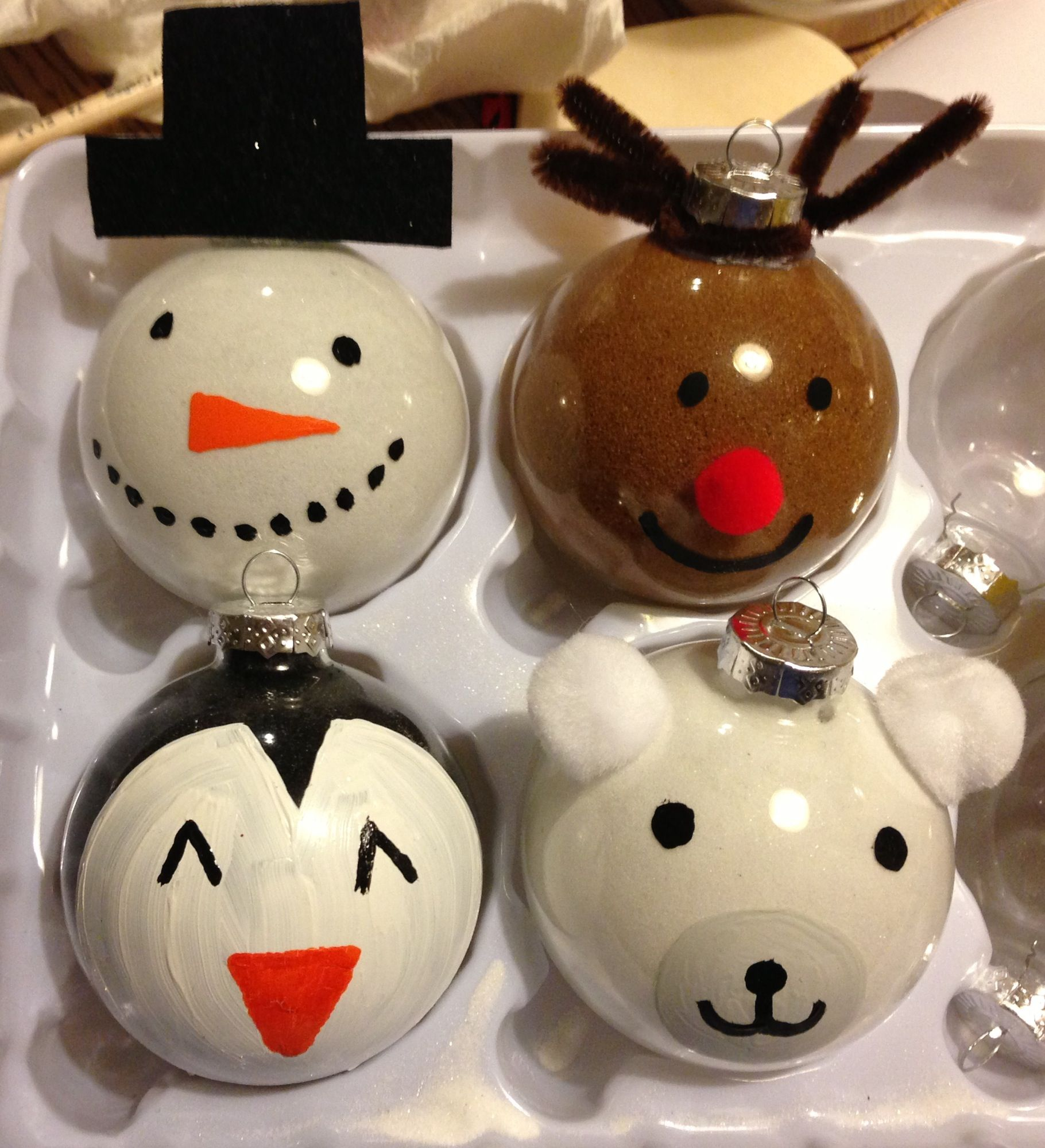 Cute holiday diy ornaments rudolph snowman penguin and for Clear ornament snowman craft