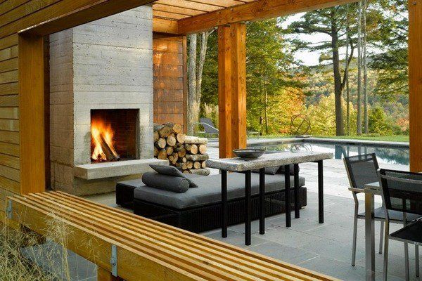 Modern Outdoor Fireplace Ideas Offer A Variety Of Options Gravel Floor Paving Stones And