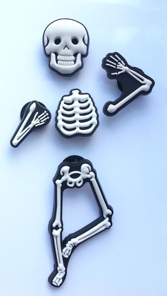 f4e89a4c00724f 3D Skeleton Bones Shoe Charms - 5 Pieces For Crocs Jibbitz in 2019 ...