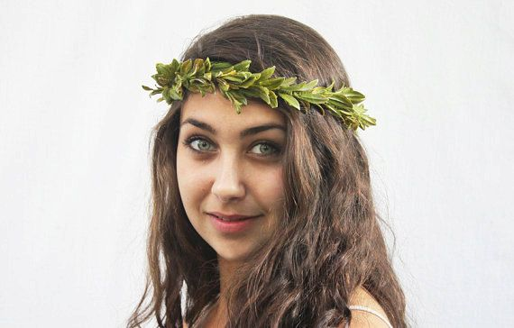 Green Leaf Crown, Greek Wedding Crown, Leaf Headband, Hair Laurel, Green Leaf Headband, Greek Headpiece, Roman, Toga Costume, Woodland #togacostume