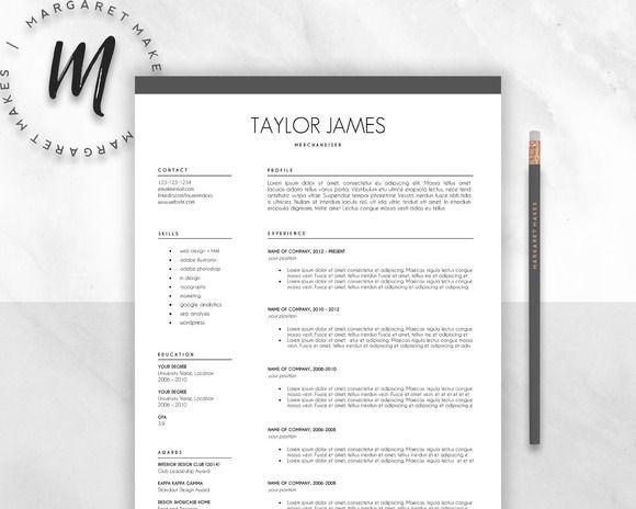 Cool Minimalist Resume Template Creativework  Fonts Graphics