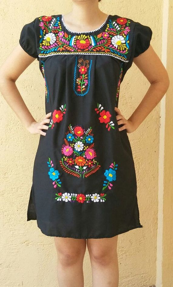 b0c566d8b96e3 Embroidery mexican Dress, Medium size Black Mexican embroidered ...