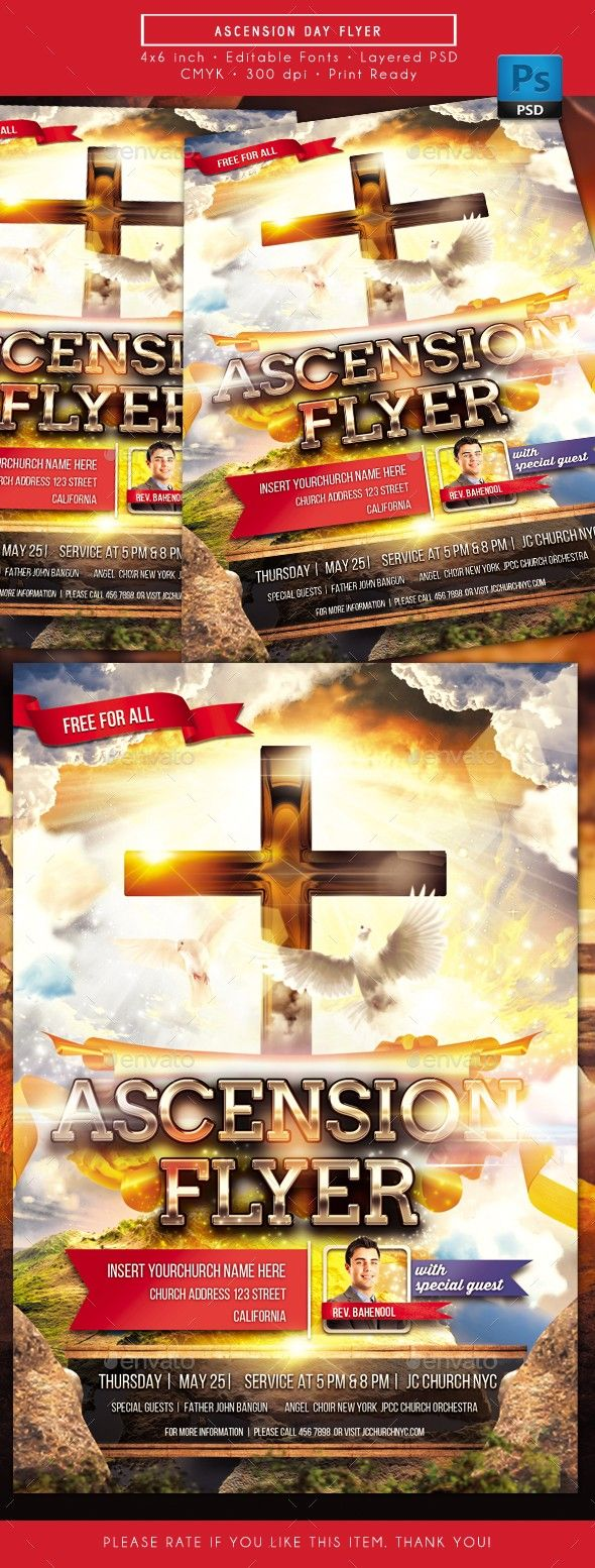 Ascension Christ Church Cross Day Design Flyer Holiday Holy
