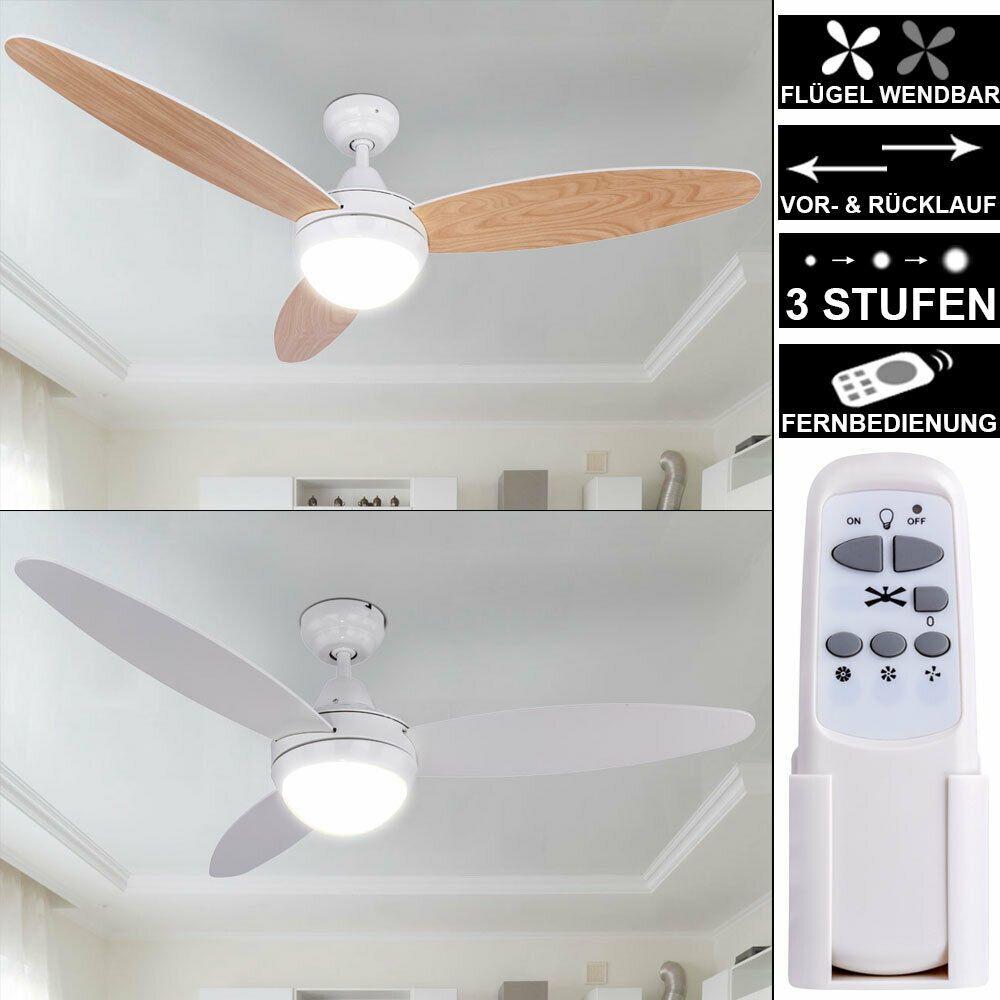 Ventilateur de Plafond Télécommande Glacière Lampe 3 Niveaux