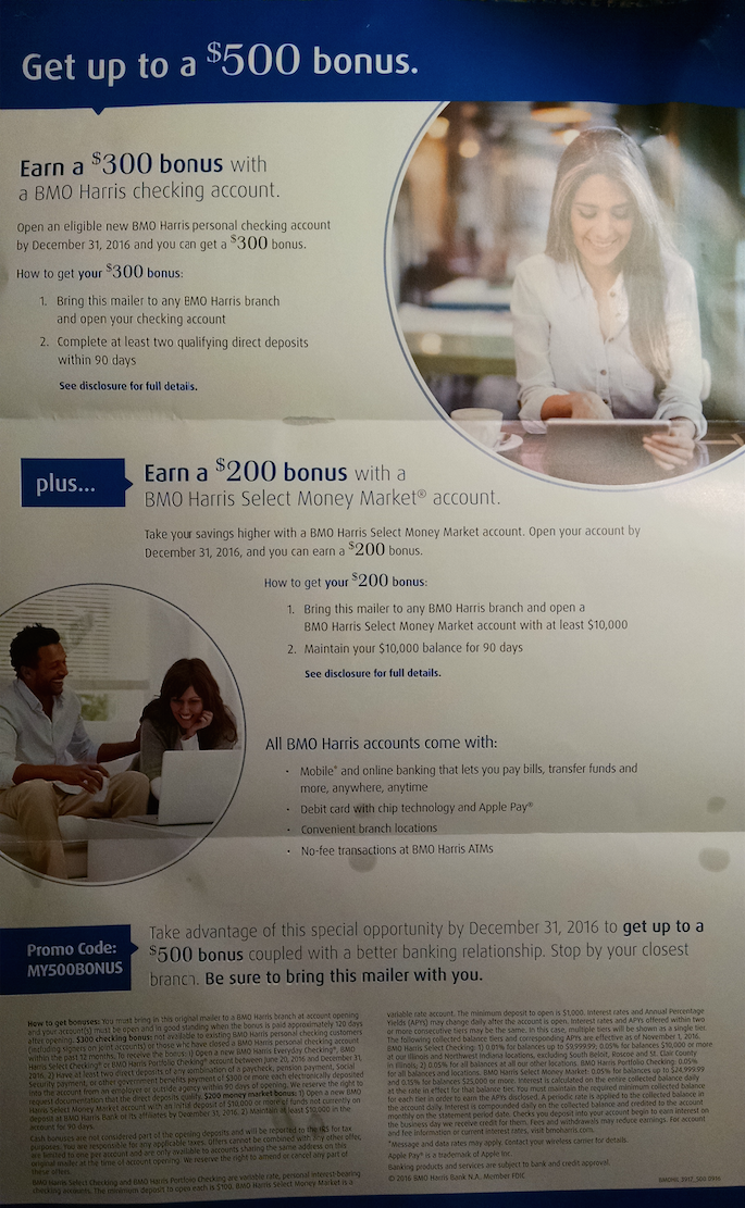 Bmo harris bank flyer for 500 checking and moneymarket bonus bmo harris bank flyer for 500 checking and moneymarket bonus finance reheart Choice Image
