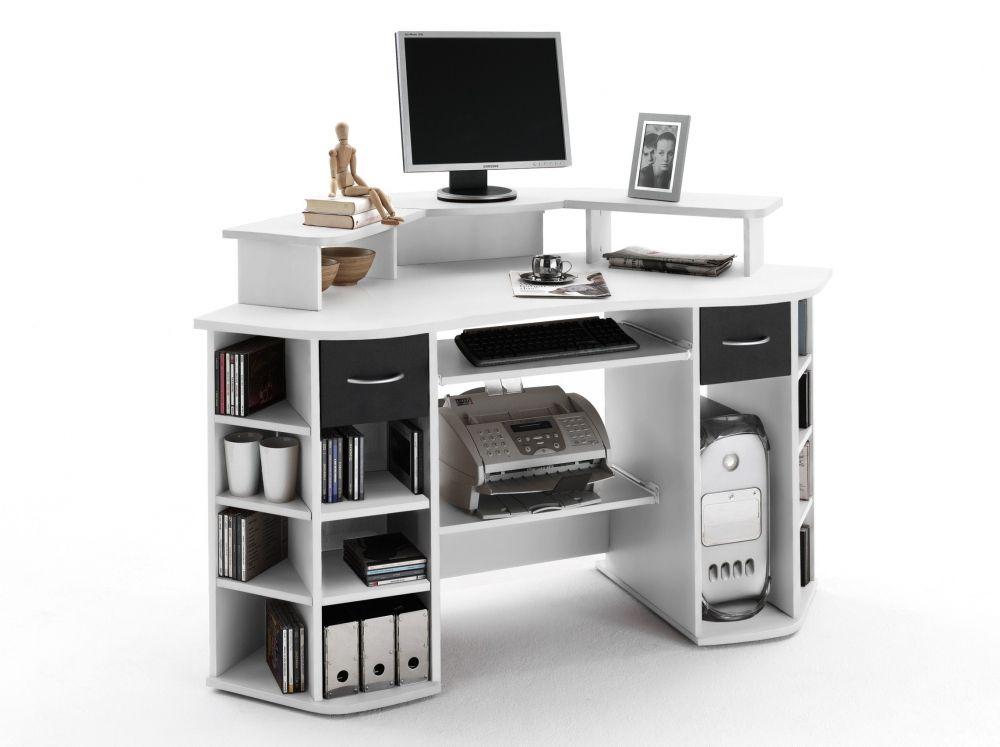Eckschreibtisch weiß holz  Clearly Computer-Eckschreibtisch weiß dekor | Büro/Home-Office ...