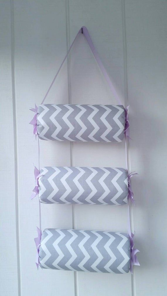 Head band holder or headband organizer in 3 tiers Gray Chevron & Lavender