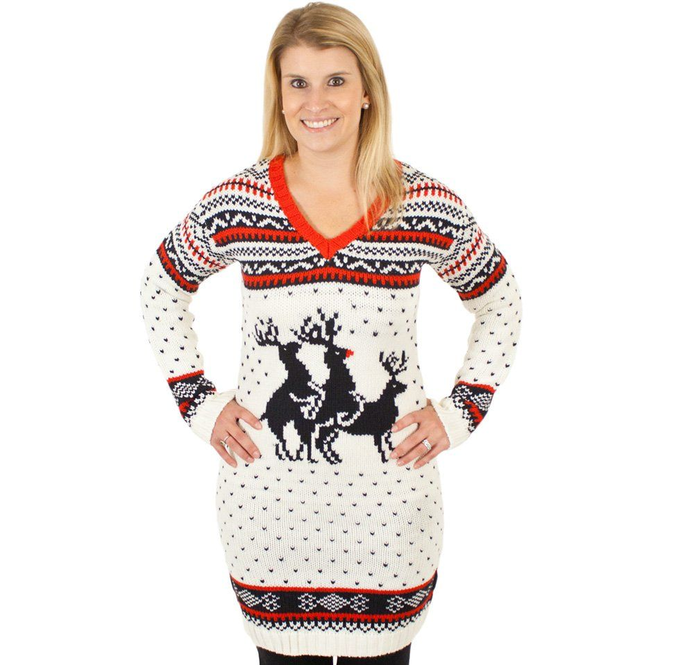 d4f7615d8 Ugly Christmas Sweater - Reindeer Threesome Naughty Sweater Dress in ...