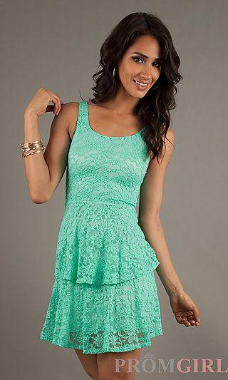 a89f3e4a7ef1 Short Sleeveless Lace Dress at PromGirl.com