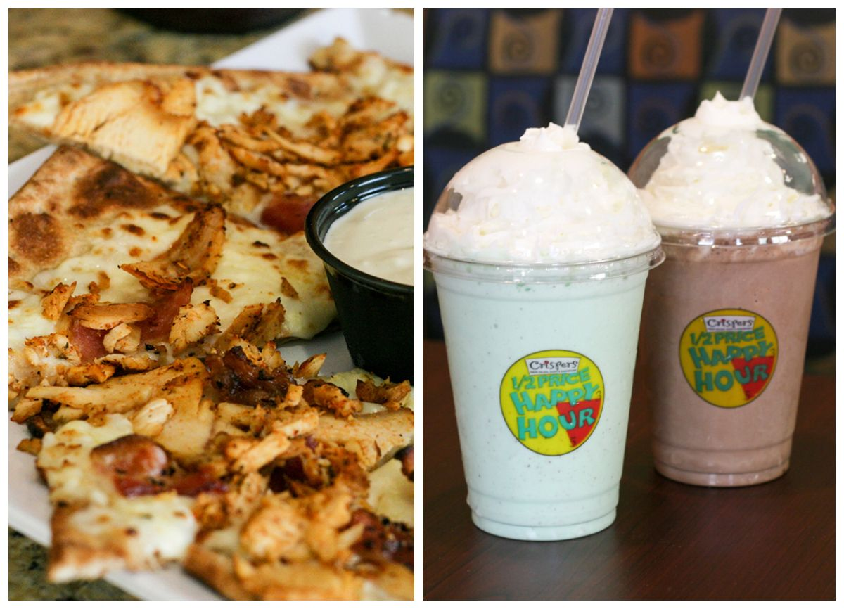 $5 flatbreads & half price shakes, every day 3-5pm. #HappyHour #lovecrispers