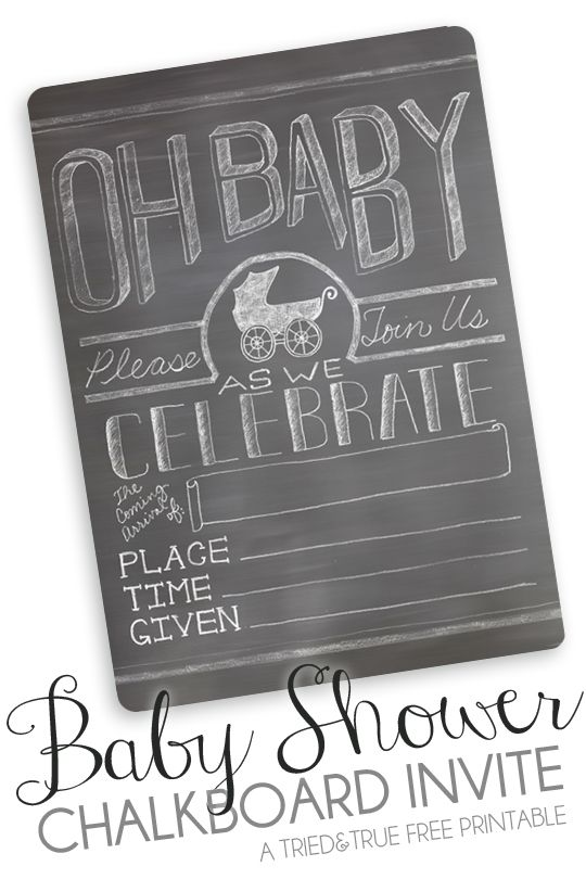 free printable chalkboard baby shower invite | baby shower, Baby shower invitations