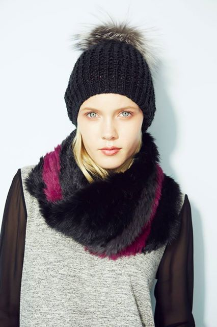 Wanna be a trend setter for fall? Wear our Nolan silver fox pom pom hat and #jocelynfur stripe infinity scarf in blk/berry/charcoal… and you will. Get them for fall on www.shopjocelyn.com