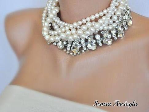 Mariages, chunky perles d'eau douce de mariage str de Handmade by Semra Ascioglu sur DaWanda.com