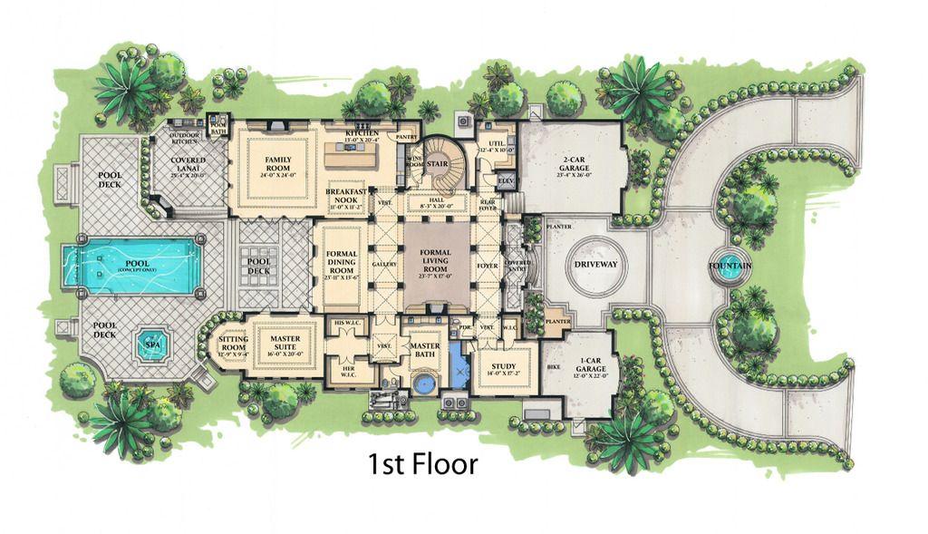Mediterranean Style House Plan - 5 Beds 5.50 Baths 8001 Sq/Ft Plan ...