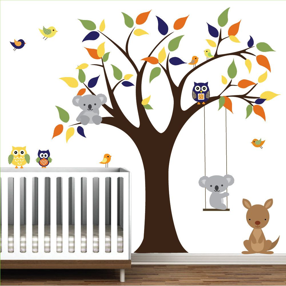 Vinyl Wall Decal Tree With KangarooKoala BearOwlsBirdsChildren - Nursery wall decals australia