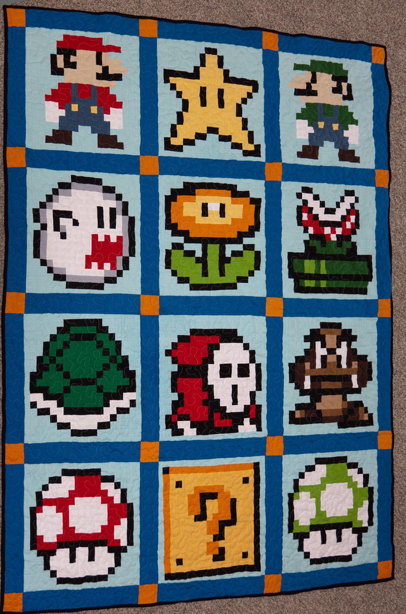 Finished My Mario Quilt Mario Quilt Mario Quilt Pattern Pixel Quilting