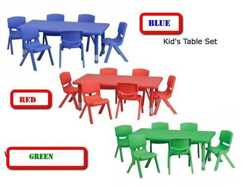 Daycare Activity Table Chairs Set Preschool Children Play ...