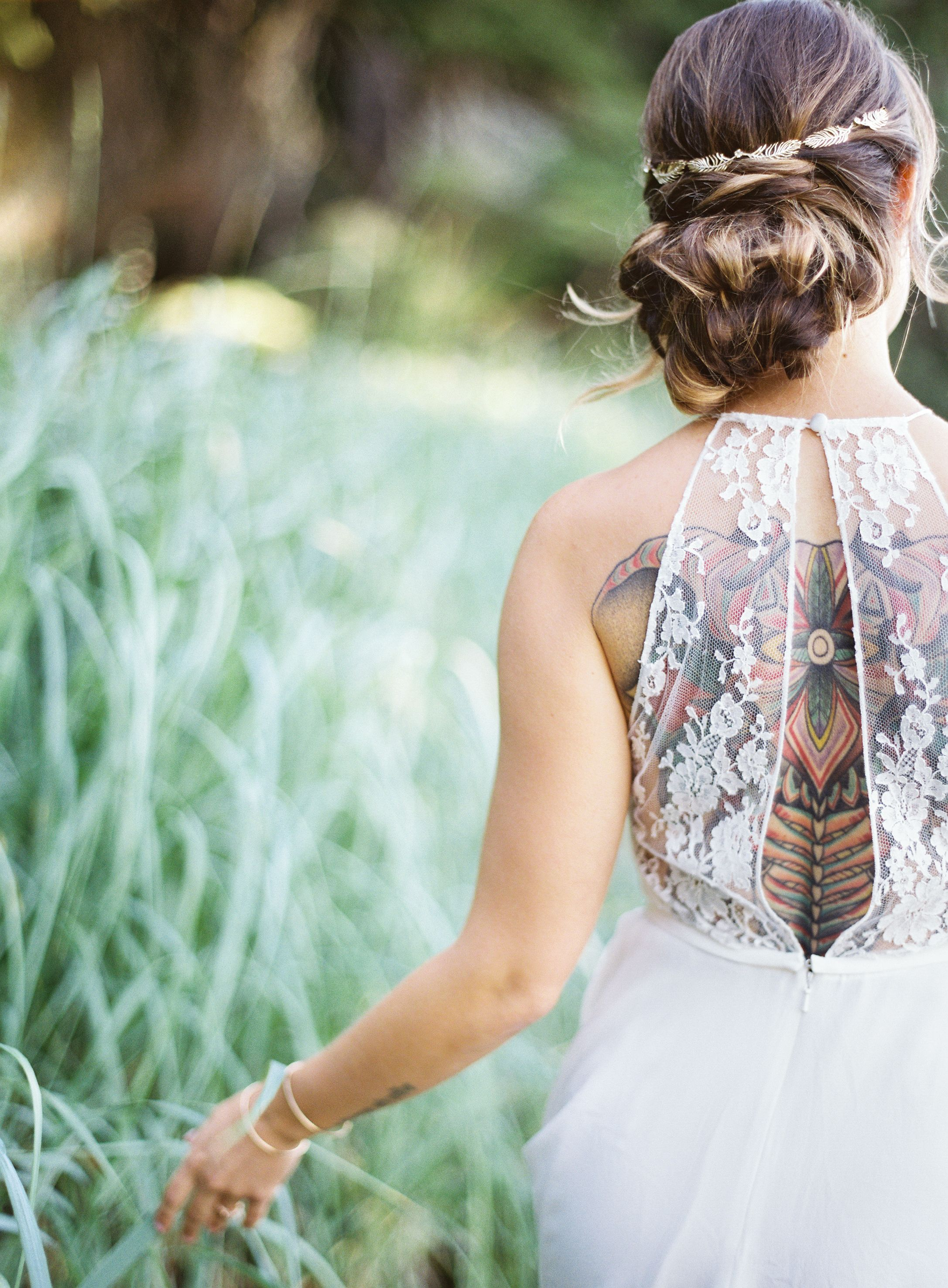 Gorgeous hair style and back dress details | Photography: Christine Clark