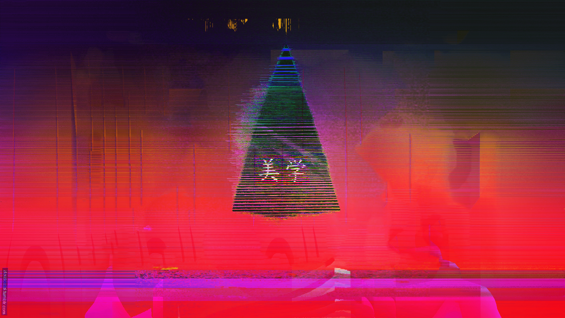 Glitch Neon Aesthetic Japan Triangle Abstract [1920x1080